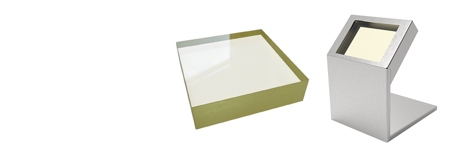 Medium sized gamma lead glass and x-ray lead glass viewing window block for x-ray protection and gamma radiation shielding.